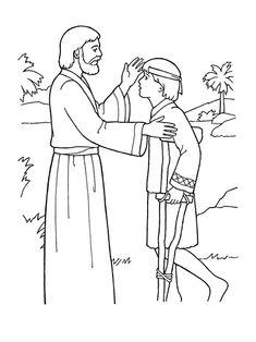 An illustration of Daniel kneeling in prayer beside a lion