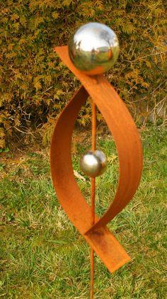 Gartendeko Rost Skulptur Cm Mit Edelstahlkugel Garten Deko