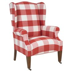 ethan allen wingback chairs front door chair black & white - buffalo check