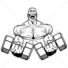 Sports Clipart Image of Weightlifter Graphic Color