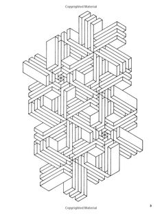 Tricky adult design to color: geometric interlocking
