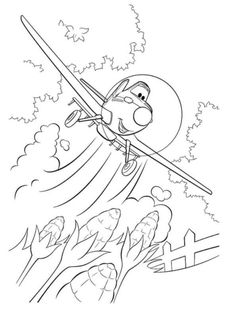Ripsliner Fights Dusty Crophopper Coloring Page, Planes