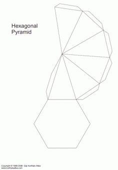 Printable, foldable 3D triangular pyramid template. Color