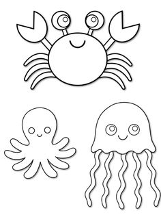 Clipart Outlined Mean Shark Octopus Puffer Fish And Sea
