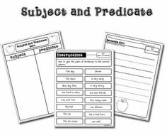 1000+ images about Subject and Predicate Activities on
