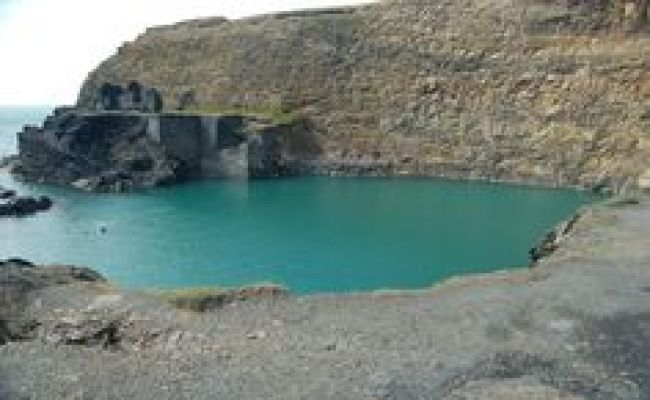 Wales Blue Lake Is A Lagoon In The Old Golwern Slate
