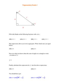 Various trigonometry worksheets and activities