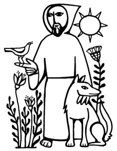 Saint Francis of Assisi and the Birds Catholic Coloring