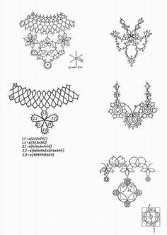 Josephine Cross tatting chart with written pattern. It is