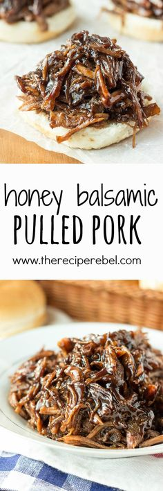 Slow Cooker Honey Balsamic Pulled Pork: Incredible thick, sweet and tangy honey balsamic sauce over slow-cooked pulled pork -- my absolute favorite way to do pulled pork! Perfect crockpot meal for summer or a busy weeknight! www.thereciperebel.com
