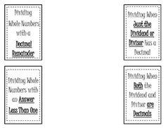 Dividing Decimals Word Problem Match and Bonus Quiz
