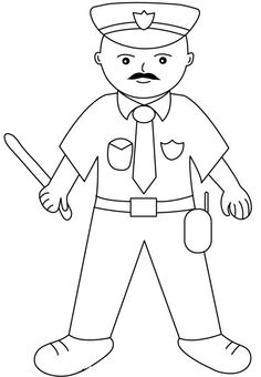 Police man color page, family people jobs coloring pages