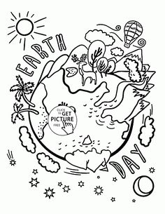 Earth day, Maze and Coloring pages for kids on Pinterest