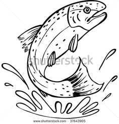 Trout pattern. Use the printable outline for crafts