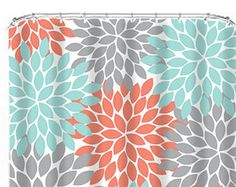 Coral Aqua Grey White Chevron Shower Curtain Fun Shower Curtains