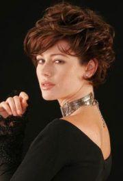 dark red curly layered wedge hairstyle