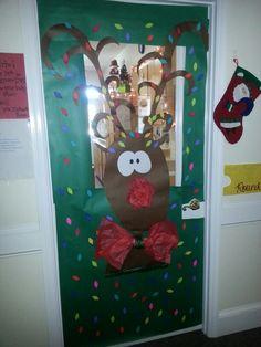 Reindeer, Door decorating and Christmas door on Pinterest