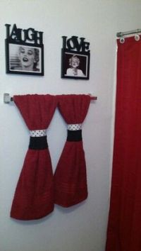 Black and pink Paris bathroom. Shower curtain and ...