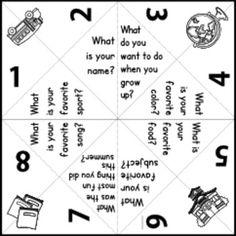 Downloadable, customizable, printable paper fortune teller
