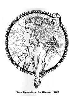 Alphonse Mucha Coloring Pages alphonse mucha, line art and