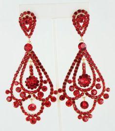 Red Crystal Chandelier Rhinestone Clip on Bridal Drag