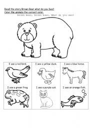 English worksheet: Brown Bear, Brown Bear, What Do You See