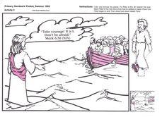 Drawing image of Jesus Christ walking on the sea water