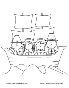 Mayflower Ship Thanksgiving Coloring Page