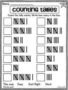 Tally Marks Worksheets ~ I like how they show the correct