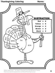 Turkey Tracks & Feather Facts ~ Math Printables Color By