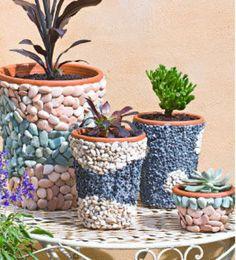 Stone Pebble And Glass Mosaic Flower Planter Boîtes Jardinage