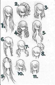 manga girl hair reference sheet