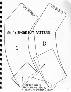 Pattern for vintage nurse hat. Instructions for hat and
