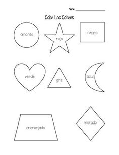 Spanish shape vocabulary. Simple Geometric Shapes. Shape