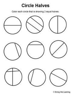 Halves of shapes, a fraction math worksheet involving