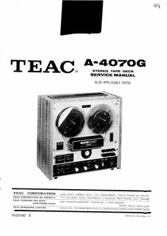 Sony TC-580 reel to reel tape recorder Service Manual 100