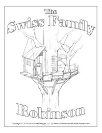Swiss family robinson, Robinson crusoe and Coloring pages