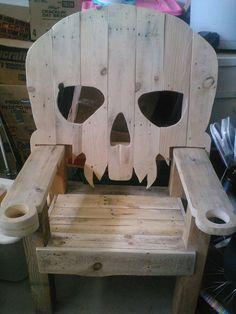 wooden skull chair ergonomic mesh singapore adirondack yard furniture solid wood pirate vampire throne by r4repurposed on etsy