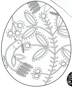 Easter egg coloring page with elegant paterns Happy