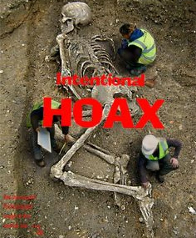 "Here's another ""giant skeleton"" hoax from the <a href=""http://worth1000.com"" rel=""nofollow"" target=""_blank"">worth1000.com</a> contest site. This one has made the rounds as ""proof"" of nephilim, Biblical giants, conspiracy, and anti-evolutionist anthropology. Nope. Proof of Photoshop. And this one didn't even win 1st prize."