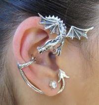 Dragon ear cuffs, Blue dragon and Blue glitter on Pinterest
