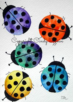 watercolor ladybugs clipart