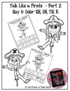 Just in time for Talk Like a Pirate Day, a color and say