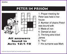 Peter and the Lame Man Crossword Puzzle Activity for Kids
