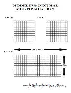 Multiplying Decimals Using Base Ten Blocks Worksheets