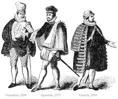 French nobility fashion 16th Century. Renaissance costumes