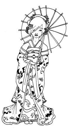 Free coloring page coloring-geisha-japan-tatoo. A