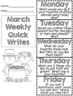 Free Spring Quick Write Foldable! Fun Prompts! First Grade