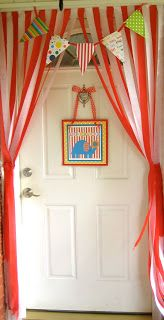 Circus birthday party main entrance, DIY tent. tablecloths ...
