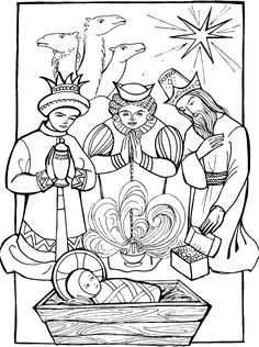 Feast of the Epiphany Coloring Page. Adoration of the Magi